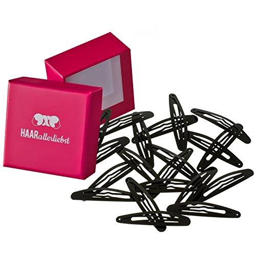 HAARallerliebst Haarspangen oval (20 Stück | schwarz | ca. 6cm) inkl. Schachtel zur Aufbewahrung (Schachtelfarbe: pink)