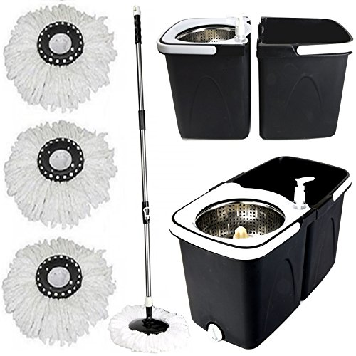 Gr8 Home Black Space Saving 360° Dual Duo Floor Spin Mop Dispenser Bucket...