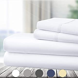 Abakan Queen Bed Sheet Set 4 Piece Super Soft Brushed Microfiber 1800 Series Hotel Luxury Egyptian Sheet Breathable, Wrinkle, Fade Resistant Deep Pocket Bedding Sheet Set (Queen, White)