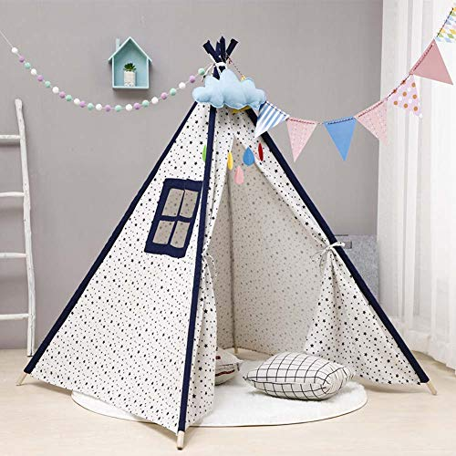 Mdurian Kids Teepee Tent Solid Color Cotton Canvas Baby Toddler Play Tents with Carry Bag Indoor & Outdoor Use, 135CM/Stars