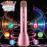 Wireless Kids Karaoke Microphone with Speaker, Portable Bluetooth Microphone Child Karaoke Mic Machine for Kids Adult Singing Party Music Playing, Support Android iOS Smartphone PC-Pink