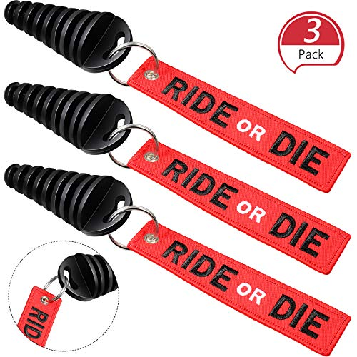 Frienda 3 Pieces 0.6-1.5 Inch Exhaust Tail Pipe Plug Muffler Exhaust Wash Plug with Rubber Exhaust Silencer and 3 Pieces Red Streamer for Motorcycle Bike 2 Stroke