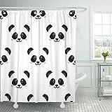 JOOCAR Design Duschvorhang, süßes Panda-Gesicht, Baby Cartoon-Bär, wasserdichter Stoffstoff, Badezimmer-Dekor-Set mit Haken