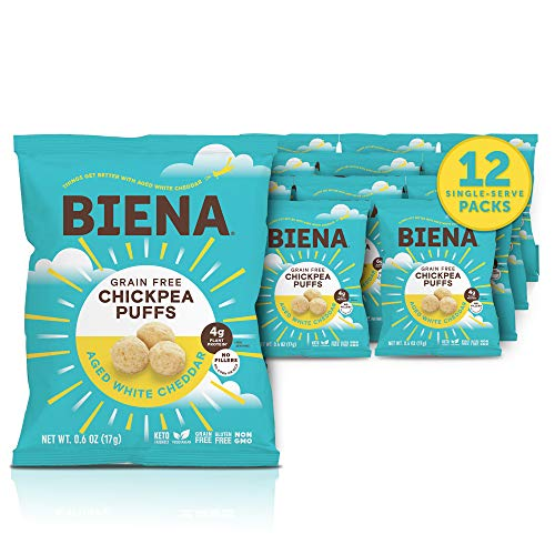 BIENA Chickpea Snack Puffs, Aged White Cheddar | Gluten Free & Grain Free Cheese Puffs | Plant-Based Protein (12 Count Snack Pack) (Packaging May Vary)