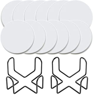 Vencer 12 Round White Ceramic Tiles Unglazed 4-Inch Cork Backing Pads with 2 Pack Metal Holder,Coaster Making Kit, for Use...