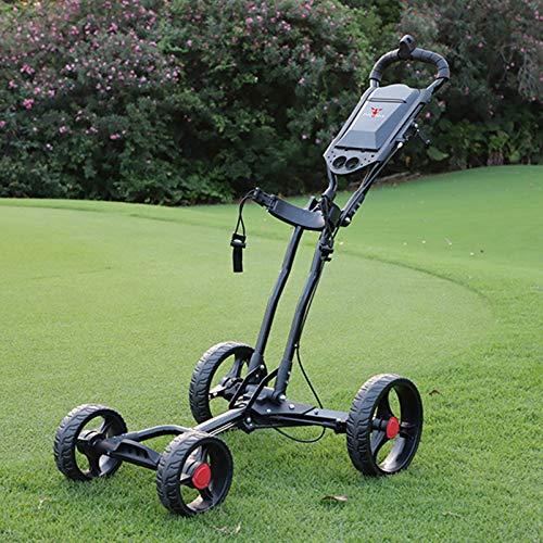 LY Carros de Golf, Carritos de Golf Carrito Empuje Aluminio Ligeros Plegables 4 Ruedas con Soporte para Paraguas, Portavasos,Black