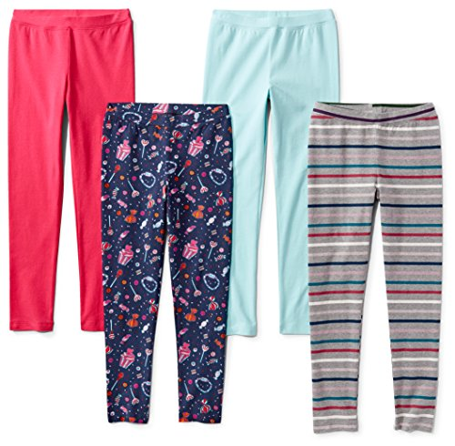 Spotted Zebra Girls' Kids Leggings, 4-Pack Candy, X-Small