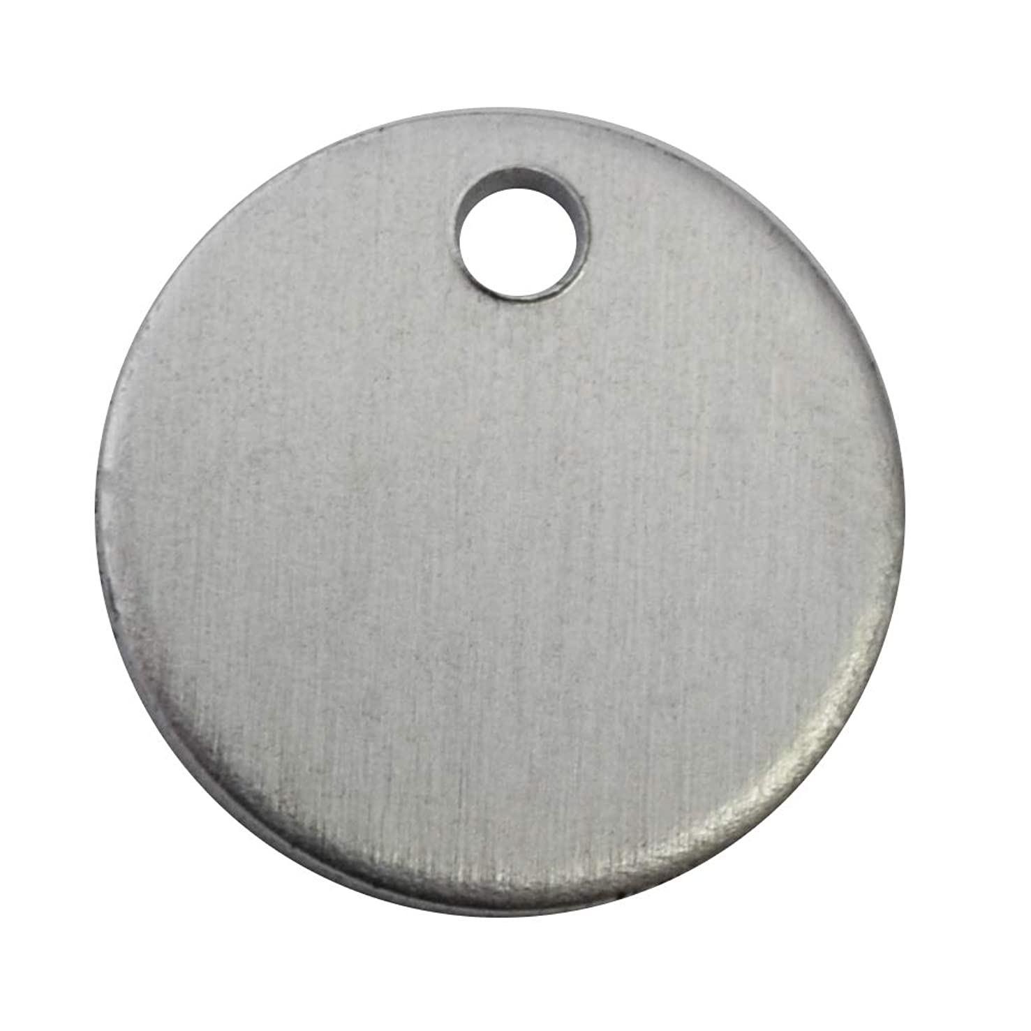 RMP Stamping Blanks, 5/8 Inch Round with Hole, Aluminum .063 Inch (14 Gauge) PVC Coating on Both Sides - 50 Pack
