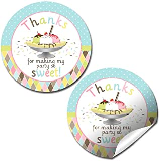 Ice Cream Banana Split Birthday Party Thank You Sticker Labels, 40 2