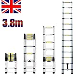 3.8m Aluminium Multipurpose Telescopic Ladder Extendable Extension Ladder 13 Steps UK