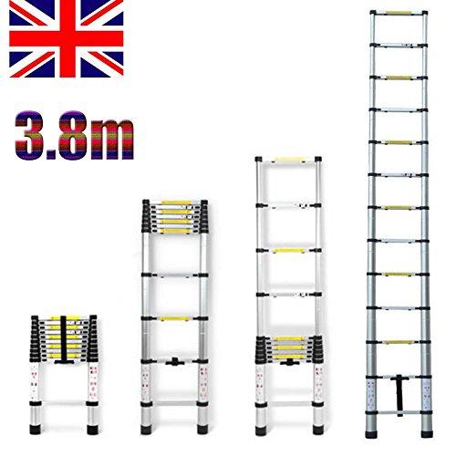 3.8m Aluminium Multipurpose Telescopic Ladder Extendable Extension Ladder 13 Steps UK