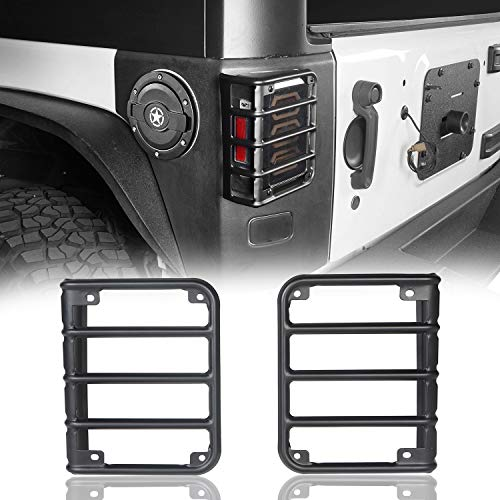 Hooke Road Matte Black Tail Light Cover Guards for Rear Taillights Compatible with Jeep Wrangler JK 2007-2018 - Pair