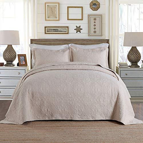 Edredón acolchado de algodón puro Colcha de edredón doble King de alta gama Edredón bordado Ropa de cama de 3 piezas Funda de cama multifunción para todas las estaciones 230x250cm Con 2 fundas de almo