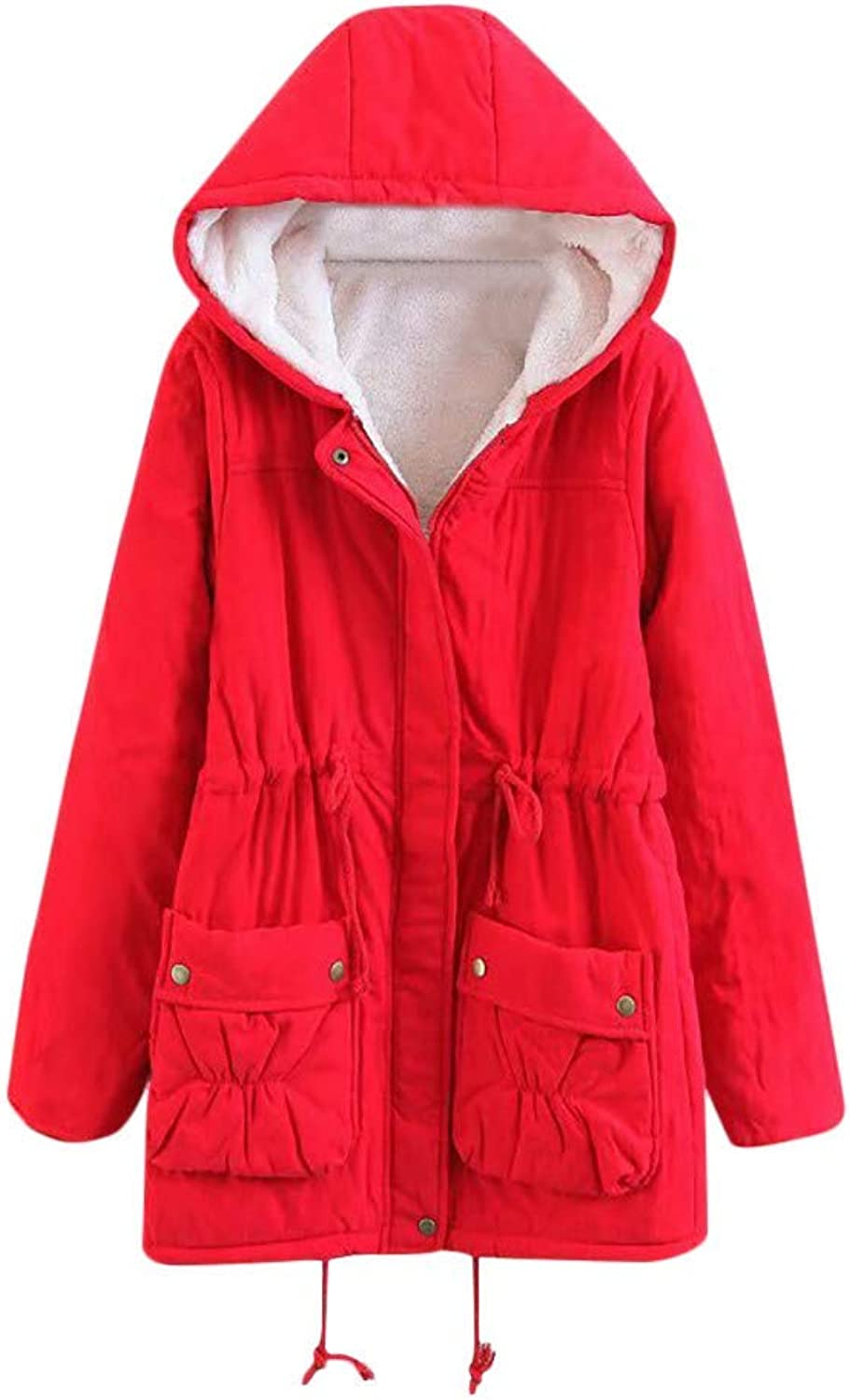 Womens Winter Warm Outwear Solid Stylish Minimalist Atmospheric Comfortable Hooded Pockets Vintage Oversize Coats