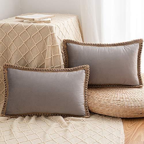 HAUSEIN 2 fundas de almohada decorativas de terciopelo, borde recortado, cuadrado, suave, sólido, para sofá, dormitorio, coche, 45 x 45 cm, color gris