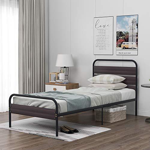 Cadre de lit Cadre De Lit Simple en Métal avec Tête De Lit en Bois Base De Lit Solide Noire pour Adultes Enfants Adolescents, 90 X 200 Cm