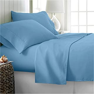 Kotton Culture Egyptian Cotton Emperor Sheet Set (Fitted Sheet, Flat Sheet, 2 Pillowcases) Deep Pocket 600 Thread Count Soft Hypoallergenic Bed Sheets, Premium European Bedding Sky Blue