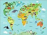Poster 70 x 50 cm: Weltkarte der Tiere (spanisch) von Kidz