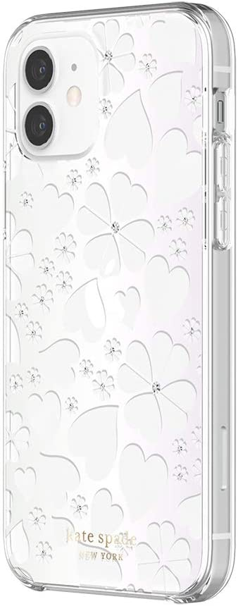 kate spade new york Protective Hardshell Case Compatible with iPhone 12 & iPhone 12 Pro - Clover Hearts Knockout Pearlized White/Clear/Gems