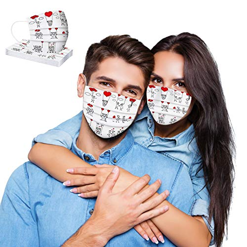 Koippimel 10Pcs, Eiffel Tower Disposable Face_Mask for Couple Valentine's Day, Cute Heart Lip Printed Breathable_Masks, 3-Layers High Filtration Non-Woven for Women Men Full Protection, Style_026