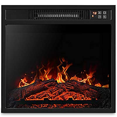 """BELLEZE 18"""" Embedded Electric Fireplace Insert Remote Heater Glass View Adjustable Log Flame 1400W, Black"""