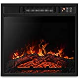 BELLEZE 18' Embedded Electric Fireplace Insert Remote Heater Glass View Adjustable Log Flame 1400W Overheating Safety Protection, Black