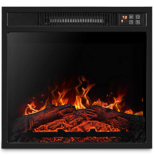 """BELLEZE 18"""" Embedded Electric Fireplace Insert Remote Heater Glass View Adjustable Log Flame 1400W Overheating Safety Protection, Black"""
