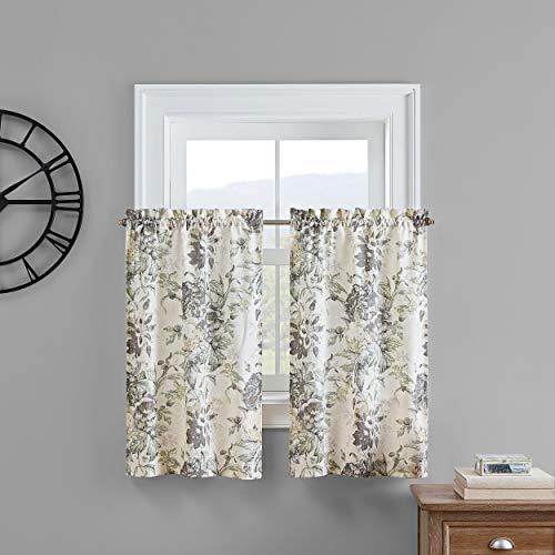 "Waverly Kensington Bloom Small Panel Tiers Privacy Window Treatment Pair Bathroom, Living Room, 52"" x 36"", Grey"