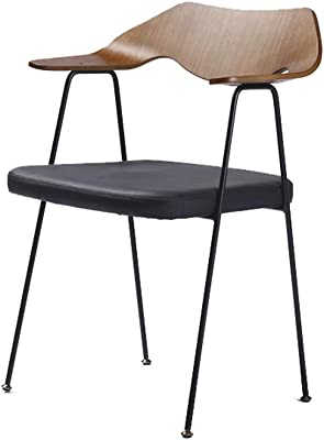 XINGPING Original Chair Nordic Solid Wood Wrought Iron Walnut Wood Cafe Restaurant Living Room Dining Chair (Color : Walnut Black)