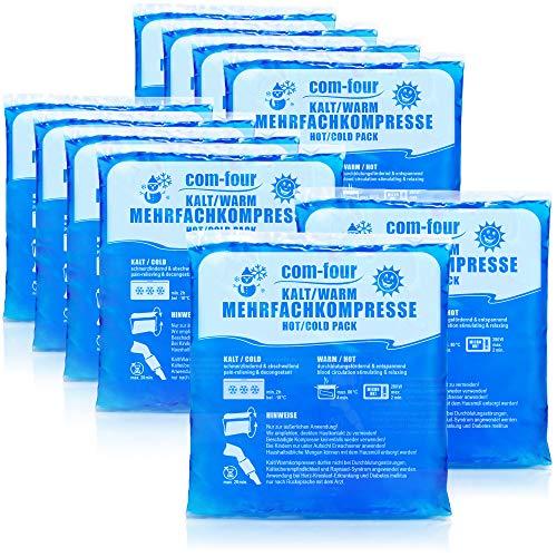 com-four 10x Compresas Multiuso, Compresas Frías y Calientes, 13 x 14,5 cm - Apto para Microondas (10 Piezas - Medianas)