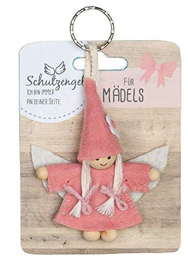 GILDE - 42638 - Schutzengel, Schlüsselanhänger, Für Mädels, Filz und Holz, 9cm, pink