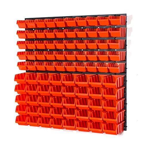 90 Stapelboxen Rot Rot mit wandregal 80 x 80 cm | boxen lager wandplatten wandpaneel werkstatt garage