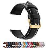 Fullmosa Axus Correa Piel, 12 Colores para Correa Reloj, Huawei Samsung Correa/Banda/Pulsera/Strap 14mm 16mm 18mm 19mm 20mm 22mm 24mm, Negro + Hebilla de Dorada, 22mm