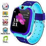 bhdlovely Reloj Inteligente para Niños La Musica y 7 Juegos, Smart Watch Phone, 2 Vías Llamada Despertador de Cámara Reloj Niño y Niña Regalo (Azul)