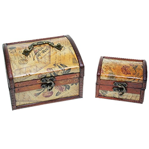 CHRISTIAN GAR Juego de 2 Cajas Decorativas de Madera (14,8 x 9,8 x 11,7 cm) - Baúles Decorativos MH-0092