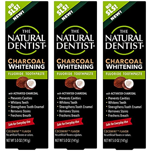 Natural Dentist Charcoal Whitening Fluoride Sulfate-Free Toothpaste, 5 Ounce (Pack of 3)