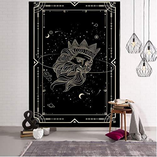 Tapiz de Mandala de Tarot de sol negro dorado dorado para colgar en la pared, alfombras de pared Hippie de brujería, decoración de dormitorio, tapiz psicodélico