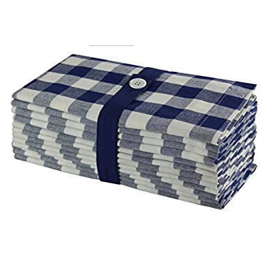 Cotton Craft 12 Pack Gingham Checks Oversized Dinner Napkins - Navy-White - Size 20x20-100% Cotton - Tailored with mitered corners and a generous hem - Easy care machine wash