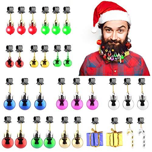 Atisite Barba Adornos, Cascabeles, se encienden Barba Bolas de Navidad, bastón de Caramelo, Caja de Regalo, Gran Festival Mirando decoración y Regalo para Navidad