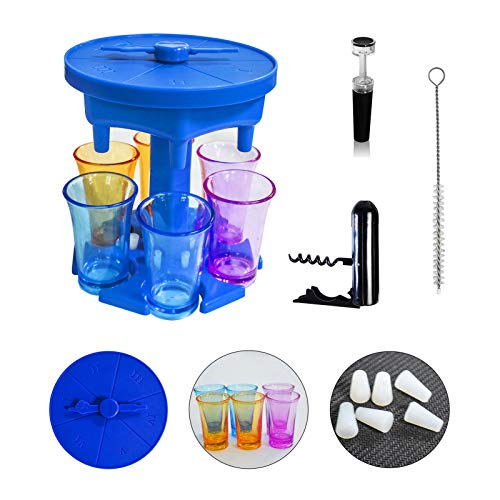 Liorwvo 6 Shot Glass Dispenser And Holder, Drink Dispenser For Filling Liquids, Beverage Dispenser With Game Pointer And Silicone Stopper, Suitable For All Kinds Of Parties (blue)