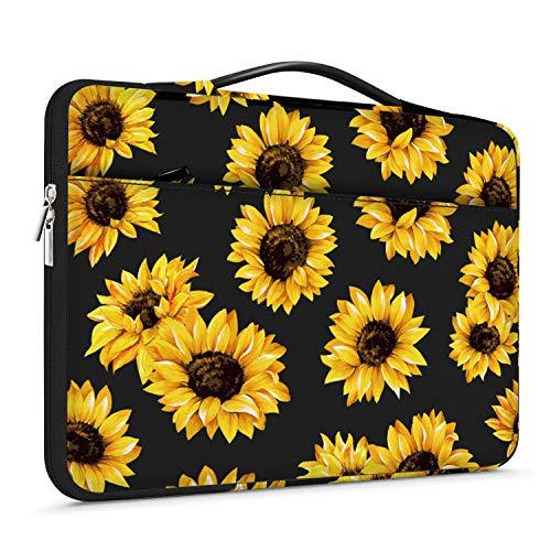 Lapac Laptop-Hülle mit Handgriff für 38,1–39,6 cm (15 - 15,6 Zoll), Notebook-Computer, HP Chromebook-Hülle, 360-Grad-Schutzhülle, wasserabweisend, schwarze Sonnenblumen-Tasche mit Tasche