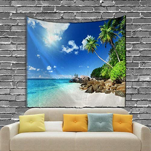 AdoDecor The Seaside Scenery Tapiz Impreso en la Pared Que Entrega la Toalla de Playa de Arena 150x100cm/59 * 39inch