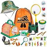 HapeeFun Kit de Exploración para Niños,27 pcs Kit de Binoculares para Niños con Linterna,Brújula,Insecto,Mochilla de Colección,Juguetes niños 3-12 de Aventura al Aire Libre Juguetes educativos