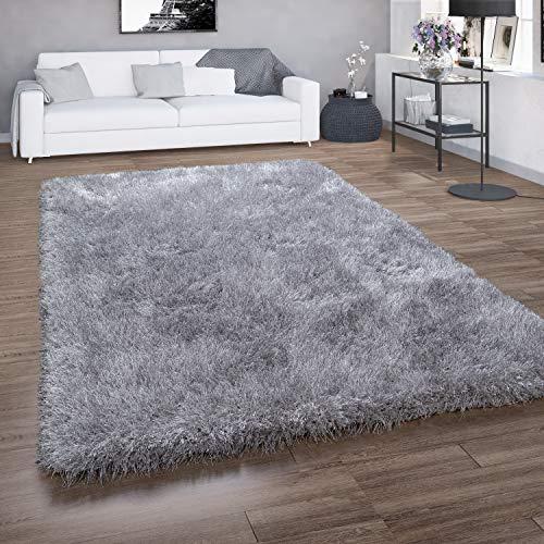 Paco Home Hochflor-Teppich, Shaggy Für Wohnzimmer, Mit Glitzer-Garn, Einfarbig In Grau, Grösse:140x200 cm