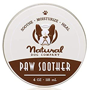 Natural Dog Company Paw Soother, Heals Dry, Cracked, Irritated Dog Paw Pads, Organic, All Natural Ingredients, 4oz Tin, 1 Count