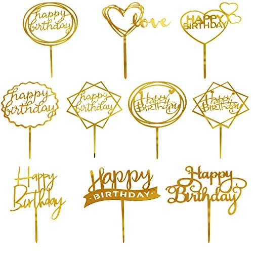 MOGADEE® 10 Stück Goldenes Happy Birthday Tortendeko Set, Acryl Glitter Cupcake Topper, Girlande Herze Sternen Cake Topper, Happy Birthday Kuchen Deko für Mädchen, Kinder, Hochzeit, Mutter