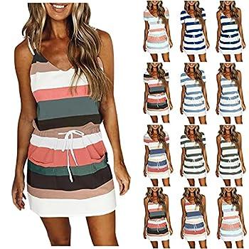 Vedolay Summer Dresses for Women Beach Short Mini Dress for Women Casual Gradient Sunflower Print V Neck Sleeveless Summer Party Cami Dress with Pockets