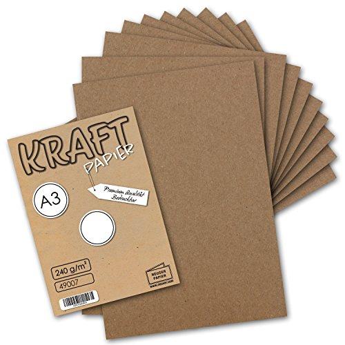 50x Vintage Kraftpapier DIN A3 - 29,7 x 42 cm - 240 g/m² - natur-brauner Recycling-Karton - 100% ökologisch Bastel-Karton Einzel-Karte - UmWelt by GUSTAV NEUSER