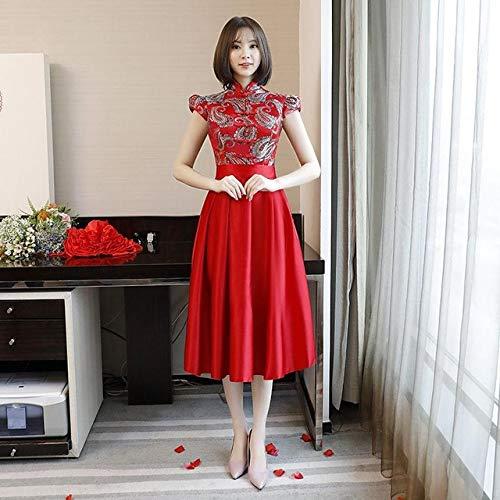 Cheongsam Tradicional Chino de Las Mujeres Elegante impresión de Gran tamaño Cheongsam señoras Boda Vestido de Dama de Honor