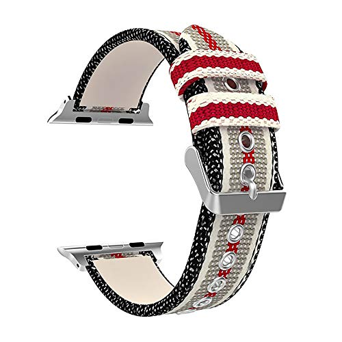WAY-KE Cinturini per Cinturini in Nylon di Ricambio per Apple Watch 38/40MM 42/44MM,White Red,42/44mm